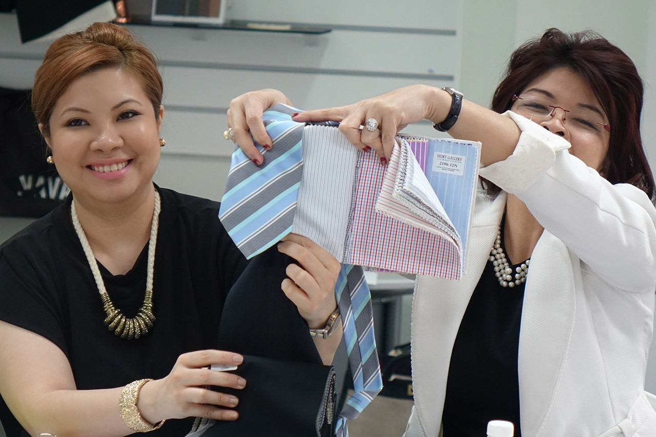 Image Consultant course on Colour, Bodyline, Wardrobe with Christina Ong - menswear shirt fabric